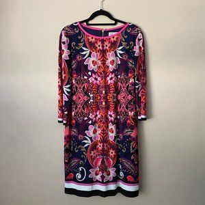 Eliza J paisley patterned shift dress with sleeves